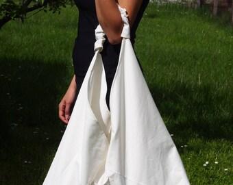 White Denim Bag, Japanese Bag, Triangle Tote Bag, Double-faced Large Tote Bag,  Cotton Tote Bag, Gift Idea  & Nara CH005