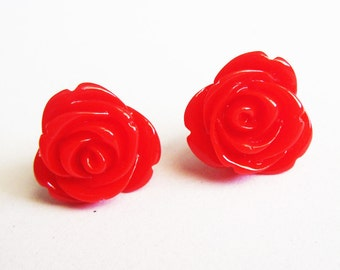 red rose earrings, flower stud earrings, rose earrings, post earrings, red roses earrings, rose jewelry earrings, chrysanthemum earrings