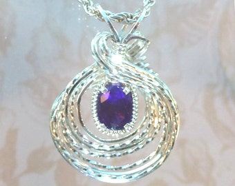 Choose Your Birthstone Womans Necklace Pendant Wire Wrapped Jewelry Handmade in Silver FREE SHIPPING