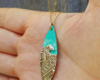 Wave Ocean Pendant handmade Bronze