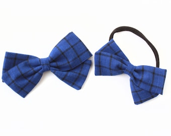 Plaid Hair Bow - Blue and Black Plaid Linen Bow For Girls and newborns