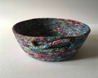 Purple And Teal Coiled Rope Bowl, Batik Fabric Bowl, Catchall Basket, Organizer Basket, Quiltsy Handmade