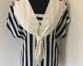 Vintage 80s Sailor Nautical Blouse Top in Navy Cream & White Size 10/12