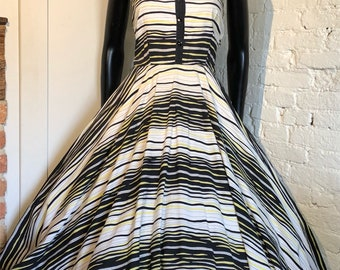 Vintage 1950s Striped Cotton Sun Dress with Circle Skirt