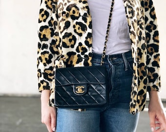 Chanel Classic, Black with Gold Vintage Leather, Mini Square Coco Chanel, Interlocking Crossbody Bag