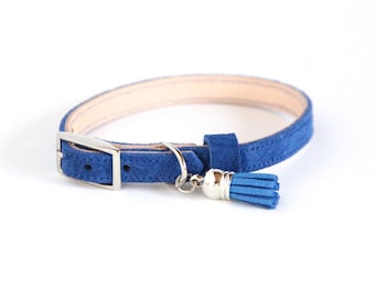 Cat Collar / Small Dog Collar // Blue Suede // Optional ID Tag