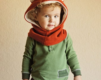Fox Hooded Cowl, Fox Hat, Kids Hooded Scarf, Fox Costume Hat