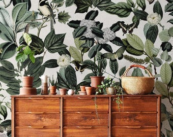 Floral wallpaper, Botanical scenic wall mural, Removable wallpaper, Greenery, Peel and stick wallpaper, Reusable, Green plant wall decor #24