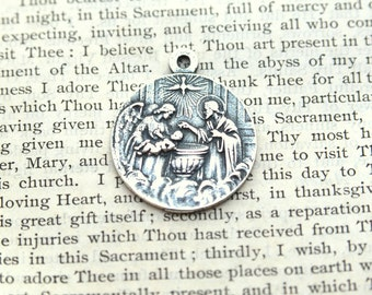 teardrop high dc silver baptism sterling medallions shape medallion polished