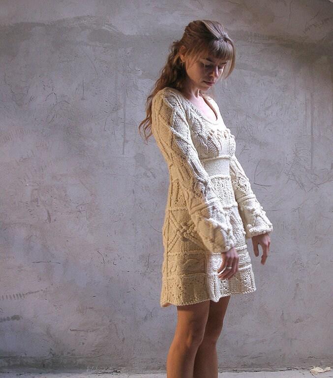 Off-white hand knit dress tunic sweater wedding dress