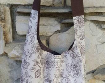 Ivory and brown floral across the body hobo bag, boho bag, slouch bag, Bohemian bag, across the body bag, handbag