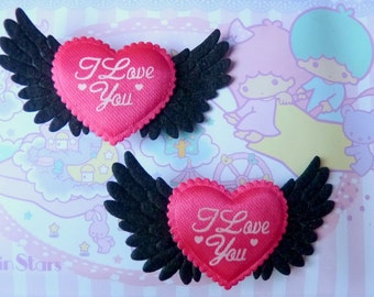 Winged Heart I Love you Hair Clip