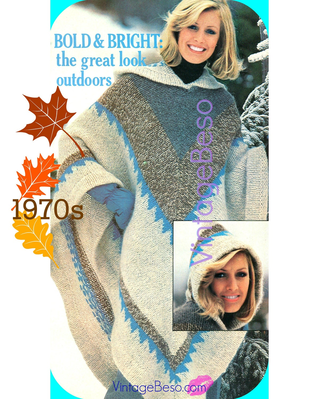 Vintage Hooded Poncho KNITTING Pattern 1970s Vintage Poncho Pattern ...