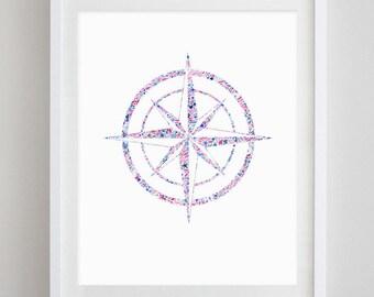 Compass Floral Watercolor Art Print - Theta Phi Alpha