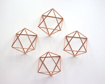 Copper Octahedron Wedding Ornament,  4 Modern Minimalist Himmeli Mobile, Copper Origami,  Geometric Ornament, Air Plant Holder