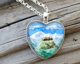 Mountain scene necklace, hand painted Pikes Peak, Castle Rock necklace, Colorado necklace, watercolor wearable art