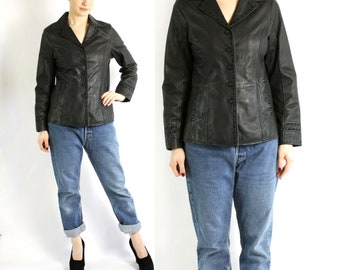 Vintage 90's Genuine Leather Black Formal Fitted Button Up Jacket Blazer - Small to Medium