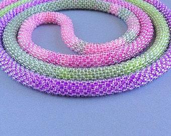 Handmade beaded lariat necklace, beaded necklace, crochet necklace, crochet lariat, long necklace