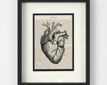 Anatomical Heart over Vintage Medical Book Page - Cardiology, Cardiologist Gift, Medical Student Gift, Gift for Doctor, Heart Surgery
