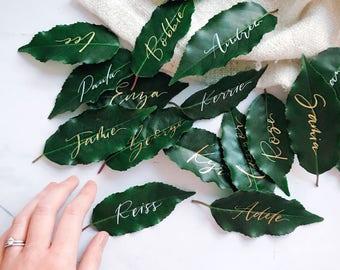 Fresh leaf place cards