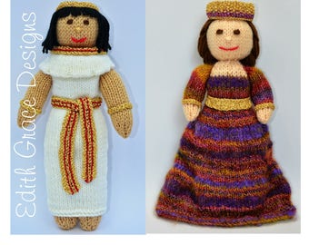Toy Knitting Pattern, Egyptian Doll, Byzantium Doll, Egyptian Dress, Rag Doll Pattern, Egyptian Jewerly, Doll Knitting Pattern. Knit Doll