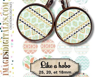 LIKE A HOBO  id 1 Digital Collage Sheet Printable Instant Download for art jewelry scrapbooking bottle caps magnets pins