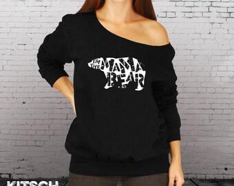 Mama Bear - Slouchy Sweater - Off the shoulder - Mama Bear Slouchy Sweatshirt - Gift for Mom - Oversized Sweatshirt  -  Off Shoulder - AR-88