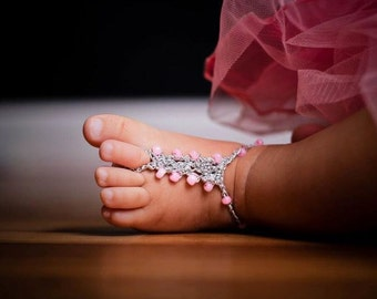 6-12 mo Baby Barefoot Sandals Foot Jewelry YOU DESIGN THEM Photo Prop Anklet Toe Ring Soleless Thongs