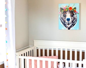 Bear and Floral Canvas Print, Wall Art, Nursery Decor, Kids Room Decor, Proverbs 31, 16x20