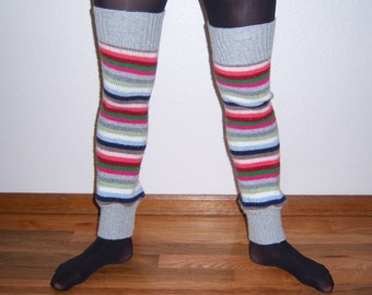 Cotton/wool multicolored striped leg warmers