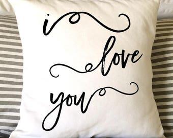 Valentine Pillow, Burlap Pillow, Love Pillow, Decorative Pillow, Handlettered, Nursery Pillow, Fiance Pillow, Anniversary Pillow