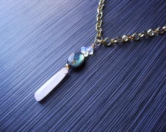 Labradorite opalite and rose quartz on gold tone chain necklace