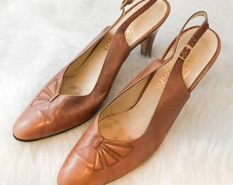 Vintage Designer Ferragamo Slingback Tan Leather Heels Pumps - sz 9.5AAAA - Free Ship