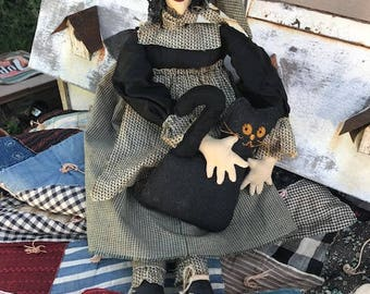 Primitive Handmade Halloween Witch with Black Cat and Black Boots, Embroidery Face