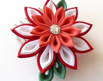 Kanzashi Fabric Flower hair comb . Red kanzashi hair comb. Red kanzashi.