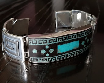 Ebony Wood Turquoise mosaic bracelet with  .950 Sterling Silver links handmade.