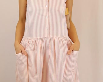 Pink candy stripe 80's sundress pastel stripes 60's style BNWT midi dress flouncy picnic garden party dresses light holiday outfits size S M