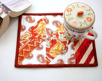Red quilted mug rugs, Indian tea mats, mini patchwork quilt, fabric mug rug, mini placemats