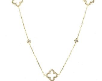 Necklace Long Open Clover Gold