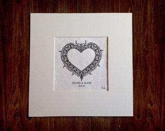 Custom Wedding Art Gift - hand drawn and personalised