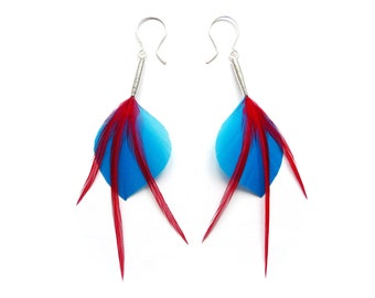 Leaf Shaped Feather Earrings in Turquoise Blue with Bright Red Accents