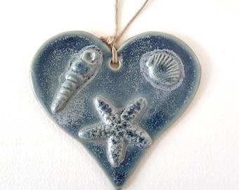 Pottery Heart Ornament - Holiday Decoration -  Ceramic Beach Ornament - Ceramic Ocean Heart Ornament with Sea Shells and Starfish Blue