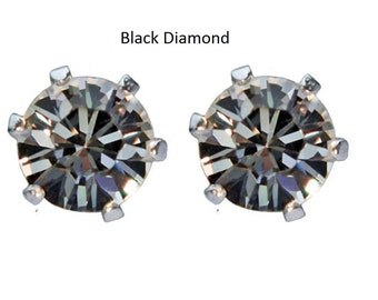 Various Cool Colours - Sterling Silver crystal stud earrings handmade with Swarovski® Elements