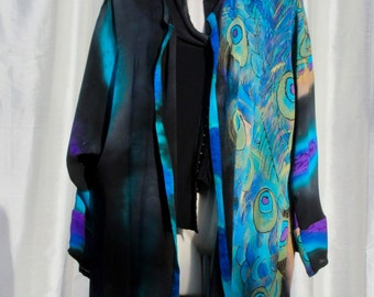 Hand Painted Silk Blouse with Peacock Feather Motif - Free Domestic Shipping