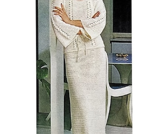 Crochet Pattern - Women's Top//Tunic and Skirt Suit - Summer Wear Download