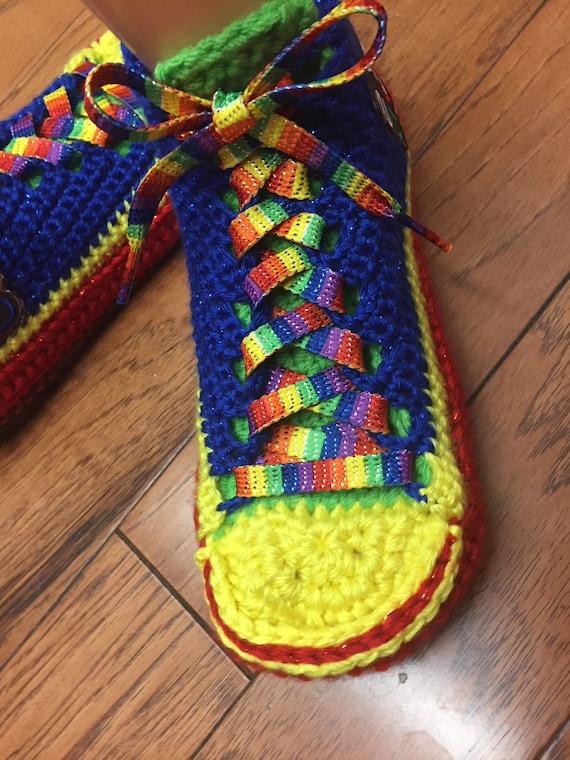 Good rainbow Womens crochet shoes slippers tennis Crocheted 7 445 Listing Life's slippers sneaker tennis rainbow 9 slippers sneakers shoes wxC1460Xq