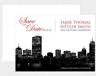 Boston City Skyline Save the Date - Boston Wedding - City Wedding - Custom Colors - Digital or Printed Options
