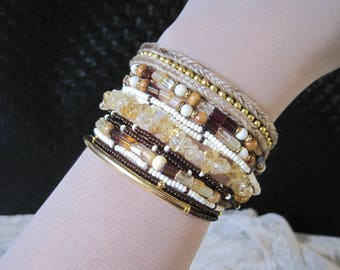 Braided horse hair with stacking Czech glass and gemstone bracelet bundle