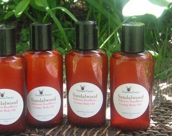 Sandalwood Hibiscus Roseberry Creamy Body Oil,body oil,scented massage oil