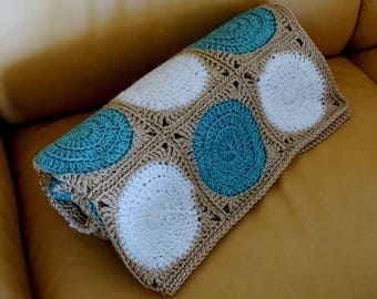 Crochet Afghan Throw Lap Blanket Modern Home Circles Seafoam Aqua Sand Brown White